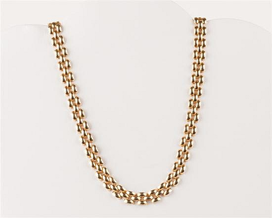 14K Yellow Gold Panther Link Chain, 28.2 grams,