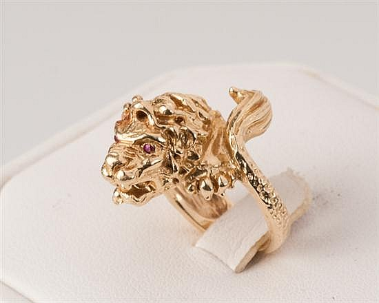 14K Yellow Gold Lion Ring, 13.3 grams,