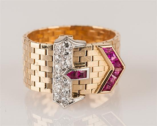 Classic 1940's 14K Yellow Gold, Ruby and Diamond Buckle Ring, 10.1 grams,