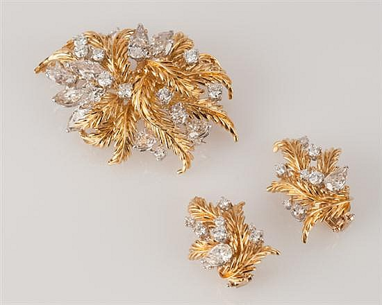 18K Yellow Gold and Platinum and Diamond Brooch and Ear Clips,