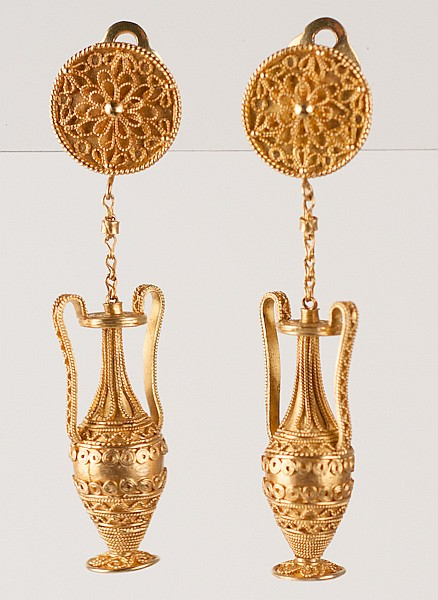 18K Yellow Gold Ear Clips, 15.8 grams, Etruscan Style,