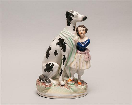 """Staffordshire Figure, 19th Century, Young Girl with Great Dane, 10 1/2"""""""
