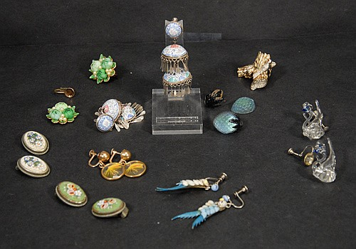 Tray Lot of Figural Earrings