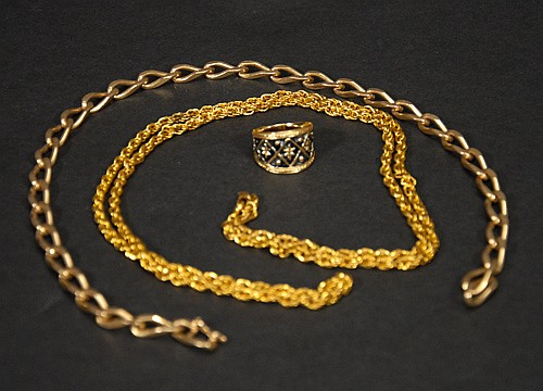 18 Kt. Gold Plate Necklace, Unmarked Gold Colored Neclace and 14 Kt. GF Ring.