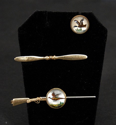 Mixed Lot to Include; 14 Kt. Gold Shotgun Tiebar, Airplane Propeller Tiebar and One Cufflink