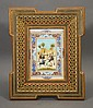 Hand Painted Persian Scene in Laquered and Inlayed Frame