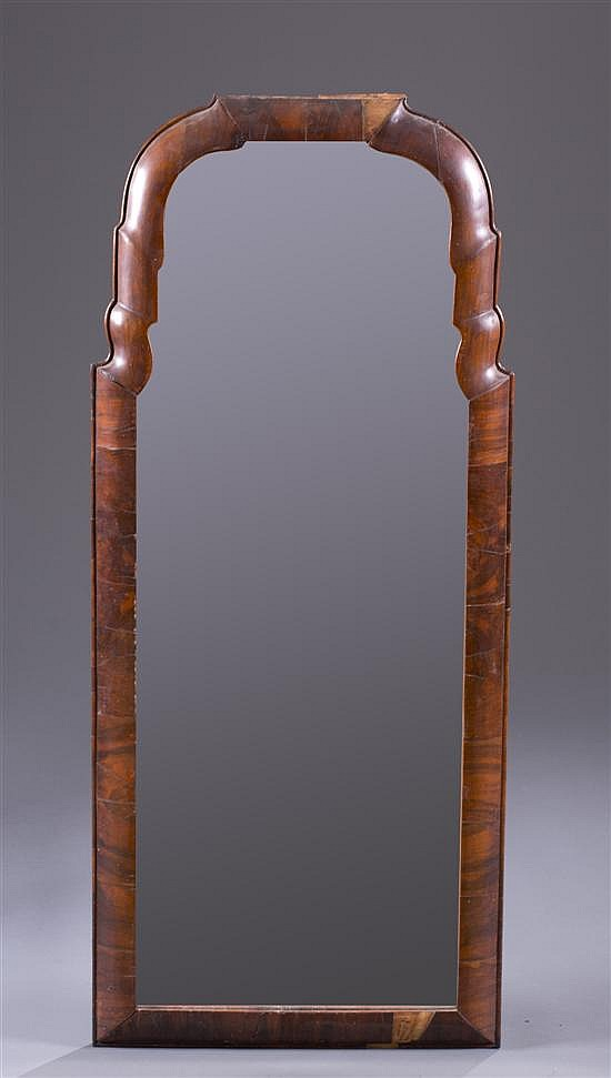 Mahogany Veneer Queen Anne Mirror