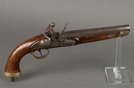 """European-Style Circa 1840 Flintlock Pistol. Brass Mounted. Lock Plate With Small Crown And Letters """"Dn."""" Top Of Barrel And Tang With..."""