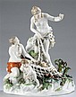 Meissen Figural Group of a Woman Catching Cupids
