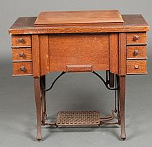 Vintage Oak Sewing Machine Table