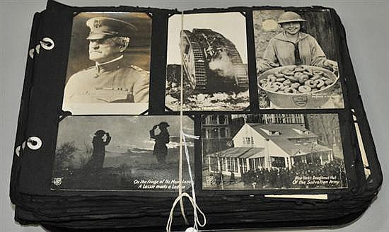 World War I postcard collection with more than 400 black and white and color postcards of landmarks in France and Belgium