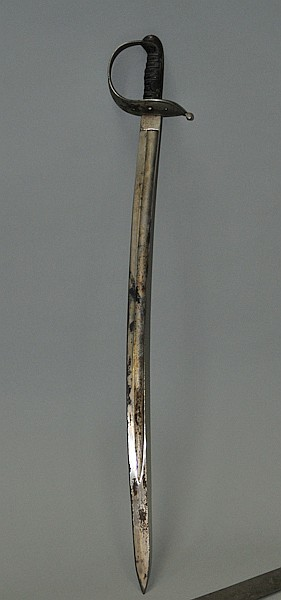European sword with wire-wrapped sharkskin grip and basket hilt
