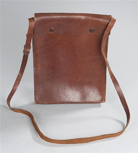 WW II and possibly WWI military-style dispatch pouch with shoulder strap.