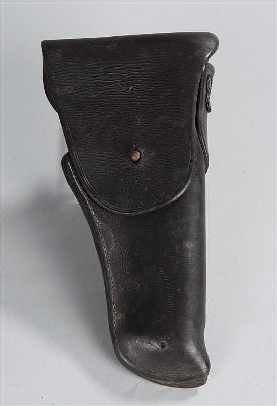 """US Army .45 cal. type (BUT LARGER) leather pistol holster. No embossed """"US"""" on flap and not maker marked. Unusual."""