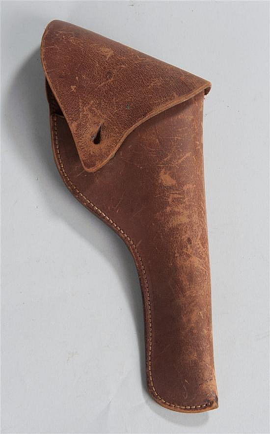 "Circa 1940s leather civilian pistol holster with belt loop stamped ""READ & SON BOSTON"" over numeral ""173"" over ""5""."