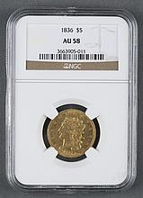 1836 Five Dollar Half Eagle Liberty Head Gold Coin
