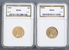 Two Five Dollar Indian Head Gold Coins