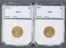 Two Five Dollar Gold Indian Head Coins