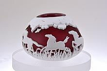Pilgrim Cameo Glass Toothpick Holder,