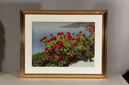 Thomas A. Newnam, Red Flowers with Water, Watercolor, Od: 32 H x 40 W Id: 22 H x 30 W
