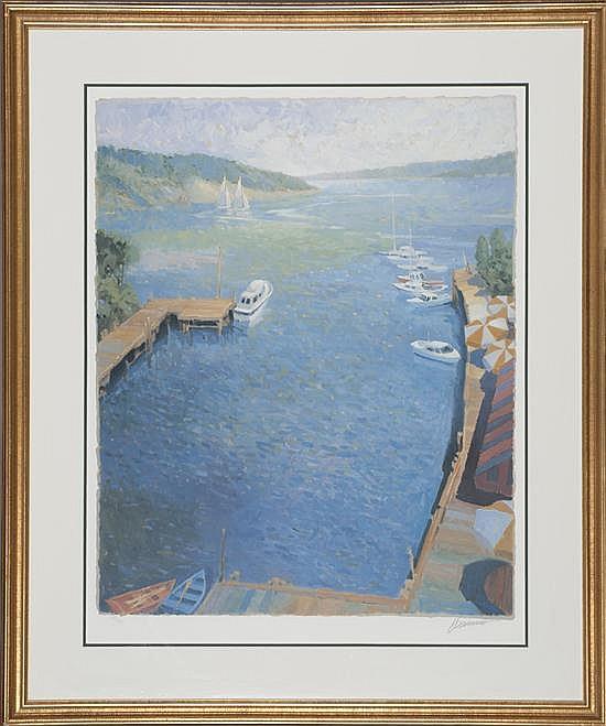 Max Hayslette, Bay island Marina I, Poster, Od: 41 H x 34 1/2 W Id: 32 H x 25 W