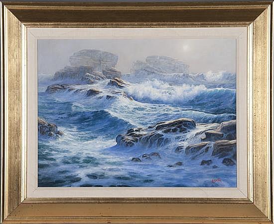 Edward Erksa, Foggy Morning, Oil on Board, Od: 26 H x 32 W Id: 17 H x 23 1/2 W