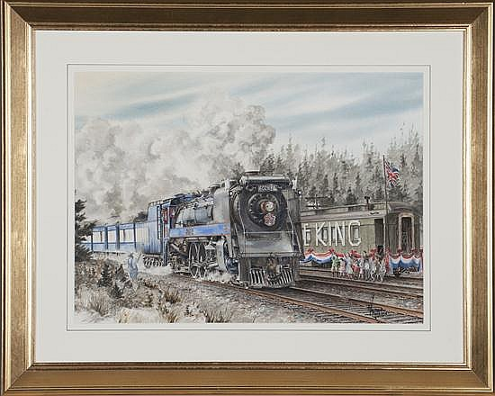 Wentworth D. Folkins, The Royal Train, Watercolor on Paper, Od: 28 H x 35 W Id: 20 H x 27 W