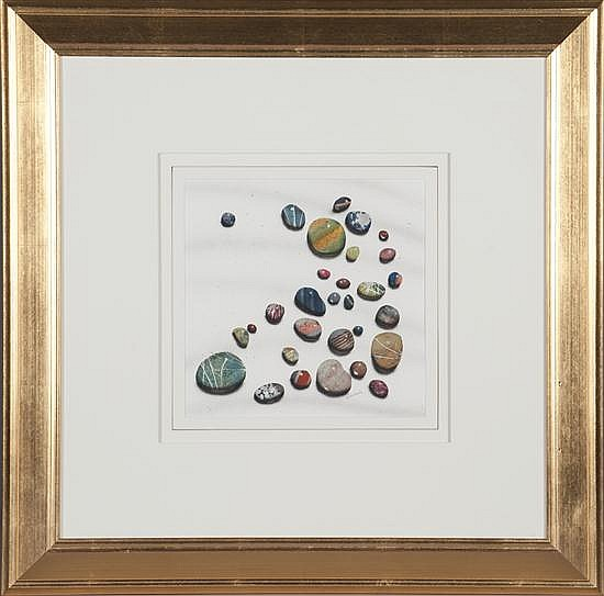George Dombeck, Stones #11, Watercolor on Paper, Od: 24 H x 24 W Id: 9 1/4 H x 9 1/4 W
