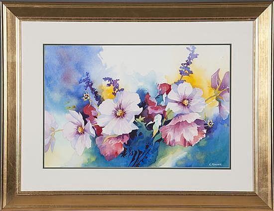Elizabeth Kincaid, Cosmos, Watercolor, Od: 25 H x 32 W Id: 15 H x 22 W