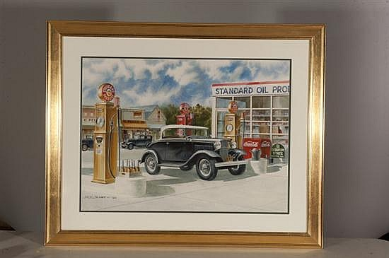 Jack Schmitt, Main Street Memories, Watercolor on Paper, Od: 32 H x 39 W Id: 23 H x 30 W