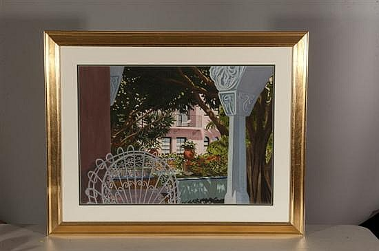 Thomas A. Newnam, View of White Chair on Balcony, Watercolor on Paper, Od: 31 H x 39 W Id: 21 H x 29 W