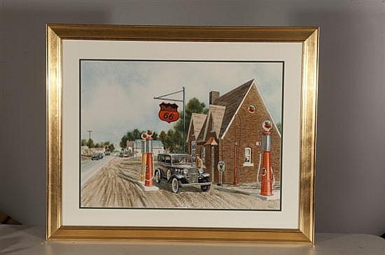 Jack Schmitt, Phillips 66, Watercolor on Paper, Od: 32 H x 39 W Id: 21 H x 29 W