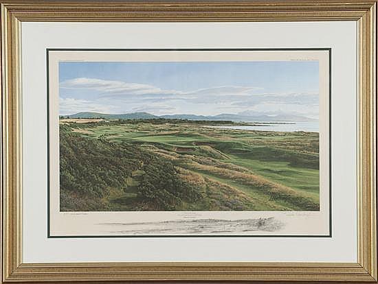 Linda Hartough, The 17th Hole Royal Dornoch, Print on Paper, Od: 28 H x 37 1/2 W Id: 30 H x 22 1/2 W