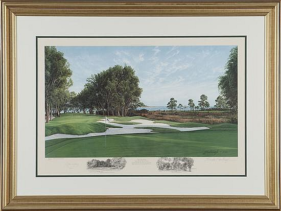 Linda Hartough, The 15th Hole Haig Point, Print on Paper, Od: 28 H x 37 W Id: 22 1/2 H x 30 W