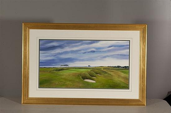 John Bayalis, North Berwick West Links: View of Bass Rock, Watercolor on Paper, Od: 25 1/2 H x 38 1/2 Id: 15 H x 27 3/4 W