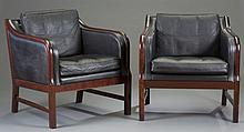 Pair of Danish Rosewood and Leather Arm Chairs