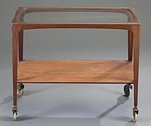 Walnut Bar Cart with Glass Top