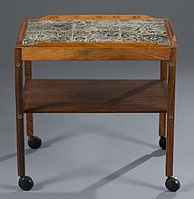Danish Rosewood Tiled Tea Cart