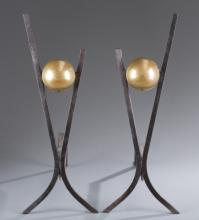 Pair of Brass Globe Andirons