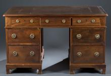 Edwardian Mahogany Partners' Desk.