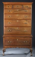 18th c. Chippendale Walnut High Chest-of-Drawers.