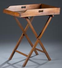 19th c. Walnut Folding Campaign Desk.