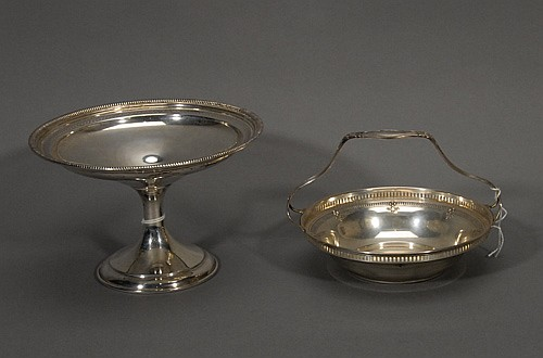 Gorham Sterling Footed Bowl and Sterling Dish with Handle