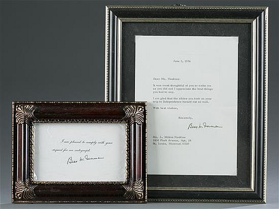 Bess Truman Letter and Signature Card