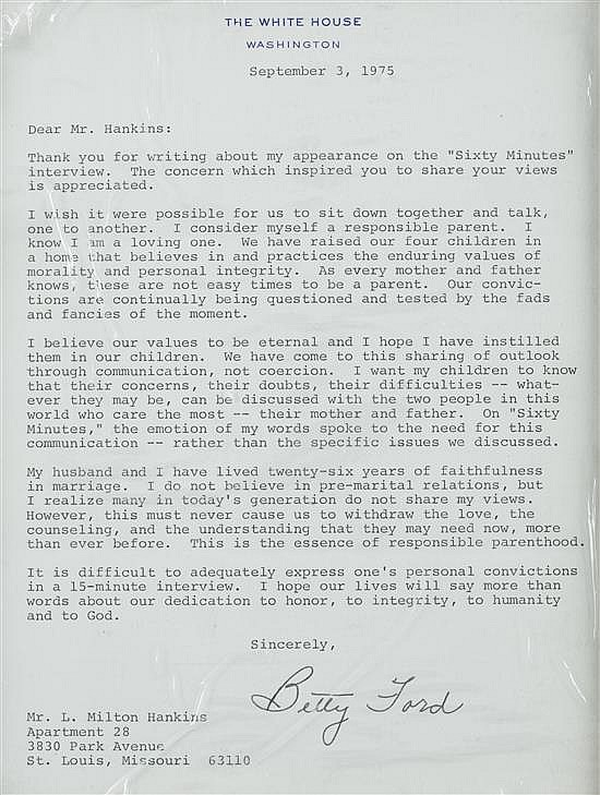 Betty Ford Signed Letter