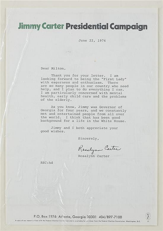 Rosalyn Carter Signed Letter