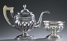 Early 19th c. Coin Silver Teapot & Waste Bowl