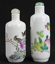 Two Chinese Famille Rose Porcelain Snuff Bottles.