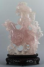A Chinese Rose Quartz Phoenix Zun Vase. Late Qing -
