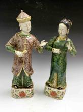 A PAIR OF CHINESE PORCELAIN FIGURINES